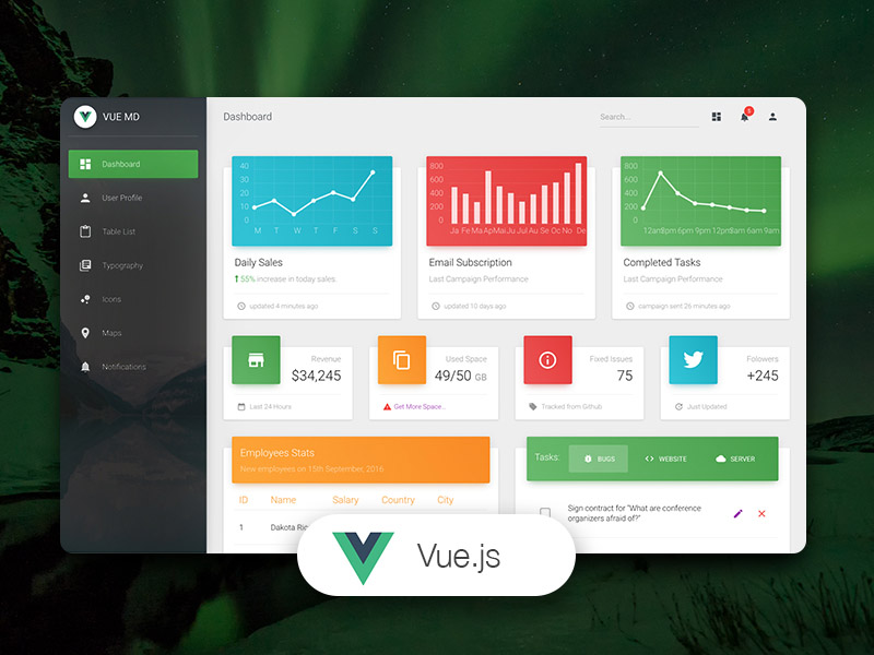 Vue Material Dashboard Image