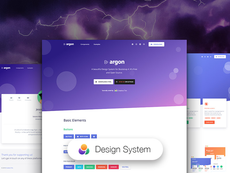 Argon free and open source design system for bootstrap