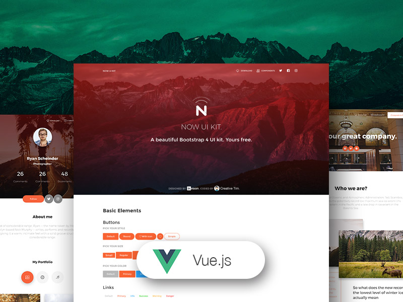 Vue Now UI Kit - Free Vue js UI Kit for Bootstrap 4 @ Creative Tim