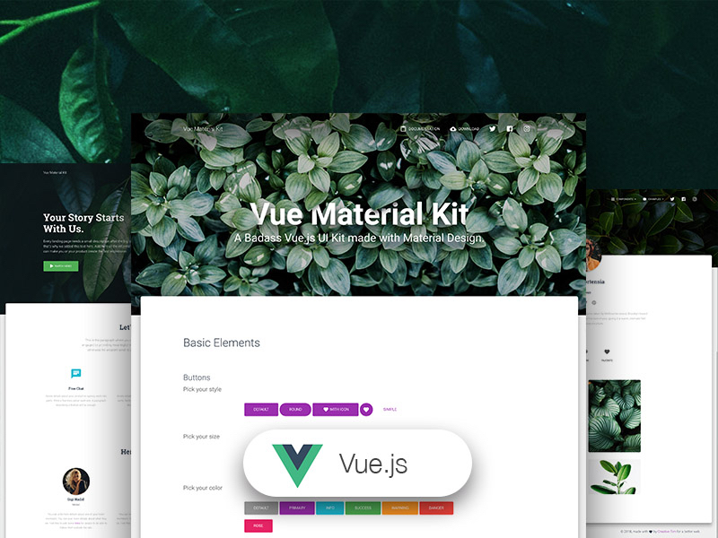 Vue Material Kit: Free VueJS UI Kit @ Creative Tim