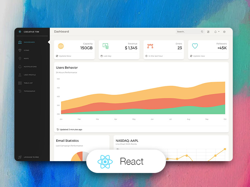 Paper Dashboard React: Bootstrap 4 Admin Template @ Creative Tim