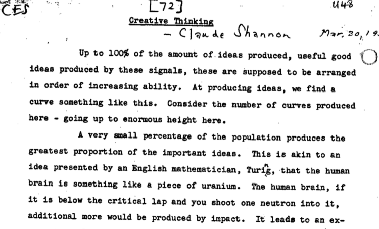 "Claude Shannon's ""Creative Thinking"" Speech: A Genius Reveals How To Be Creative"