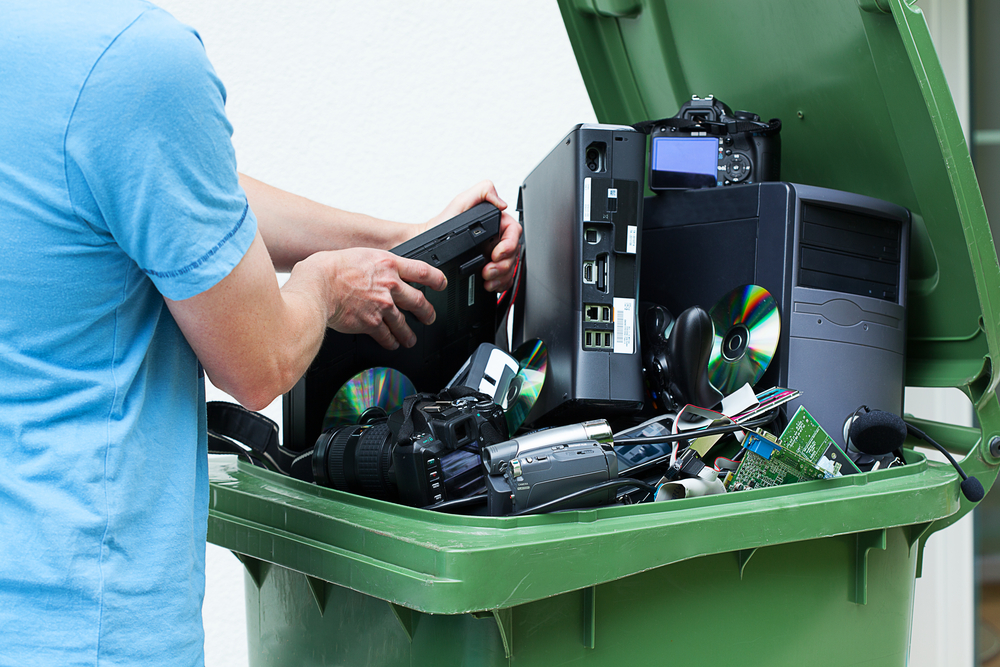 e-waste management recycling bin electronics devices