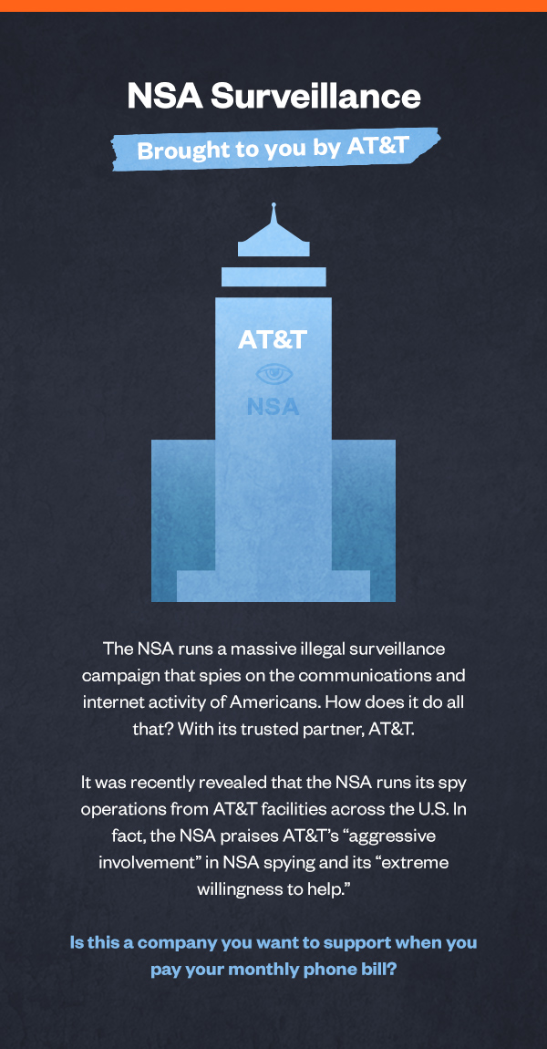 NSA Surveillance is brough to you by AT&T. Is this a company you want to support when you pay your monthly phone bill?