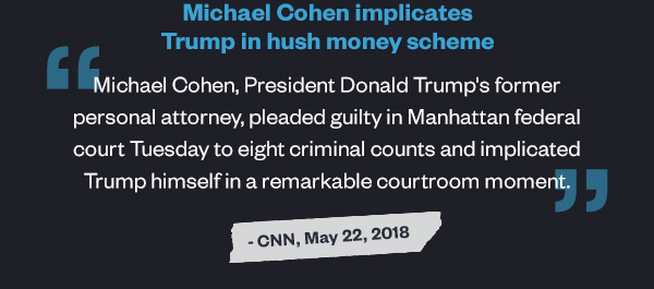 Michael Cohen implicates Trump in hush money scheme: 'Michael Cohen, President Donald Trump's former personal attorney, pleaded guilty in Manhattan federal court Tuesday to eight criminal counts and implicated Trump himself in a remarkable courtroom moment.' - CNN, May 22, 2018