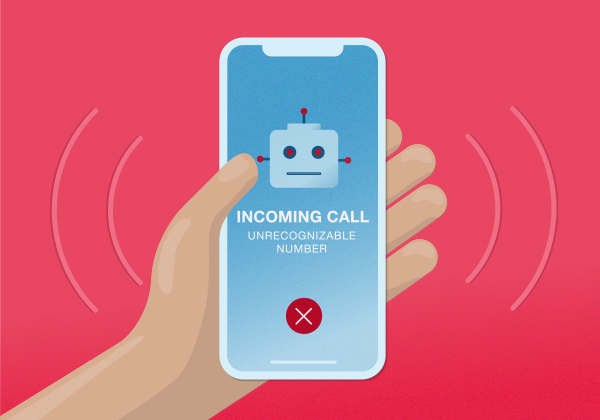 Illustration of a phone receiving a spam robocall from an unrecognized number