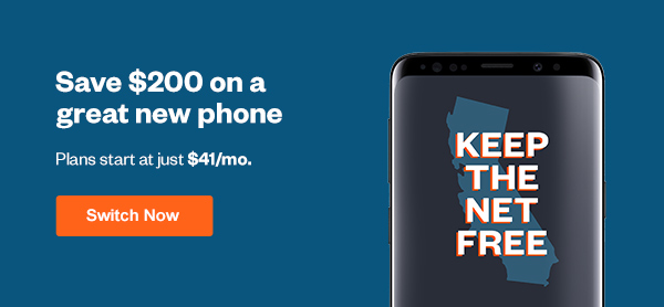 Save $200 on the Samsung Galaxy S9 with 30% off data when you switch today. Click here to Switch Now