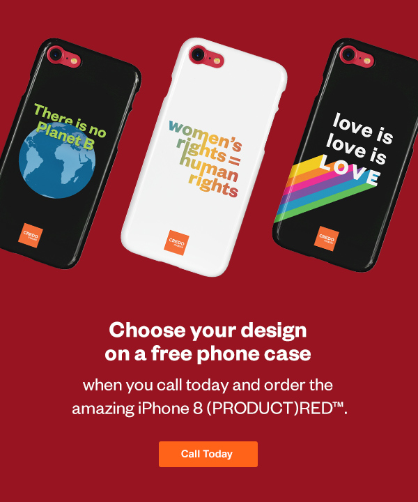 Choose your design on a free phone case. Call today and order your new iPhone 8 PRODUCT(RED)