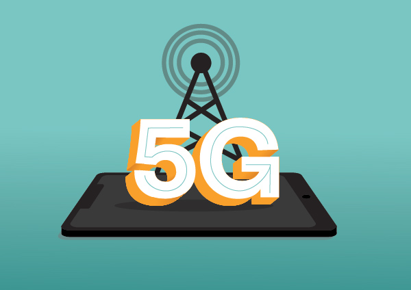 An illustration of 5G being activated on a phone