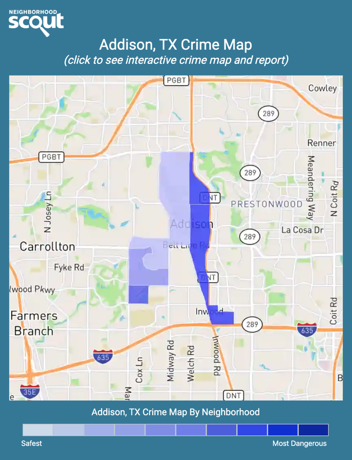 Addison, Texas crime map