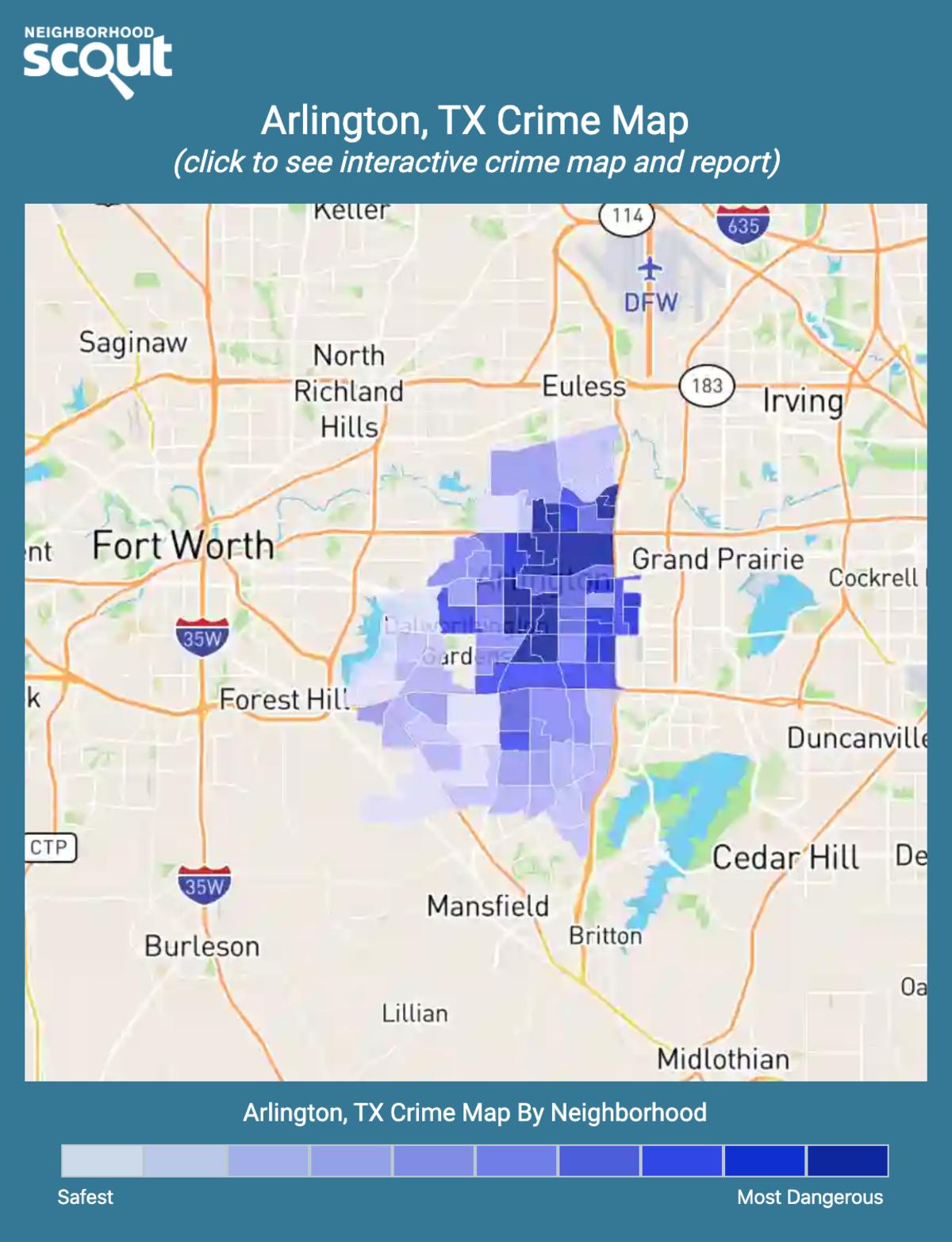 Arlington, Texas crime map