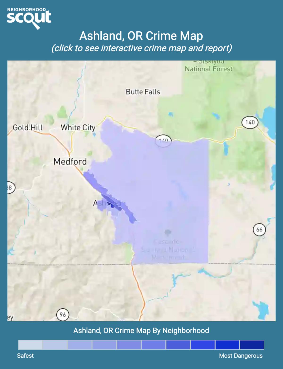 Ashland, Oregon crime map