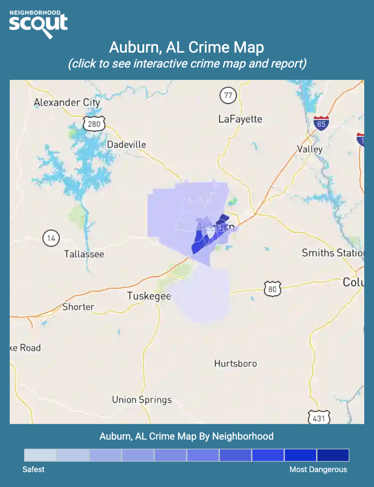 Auburn, Alabama crime map