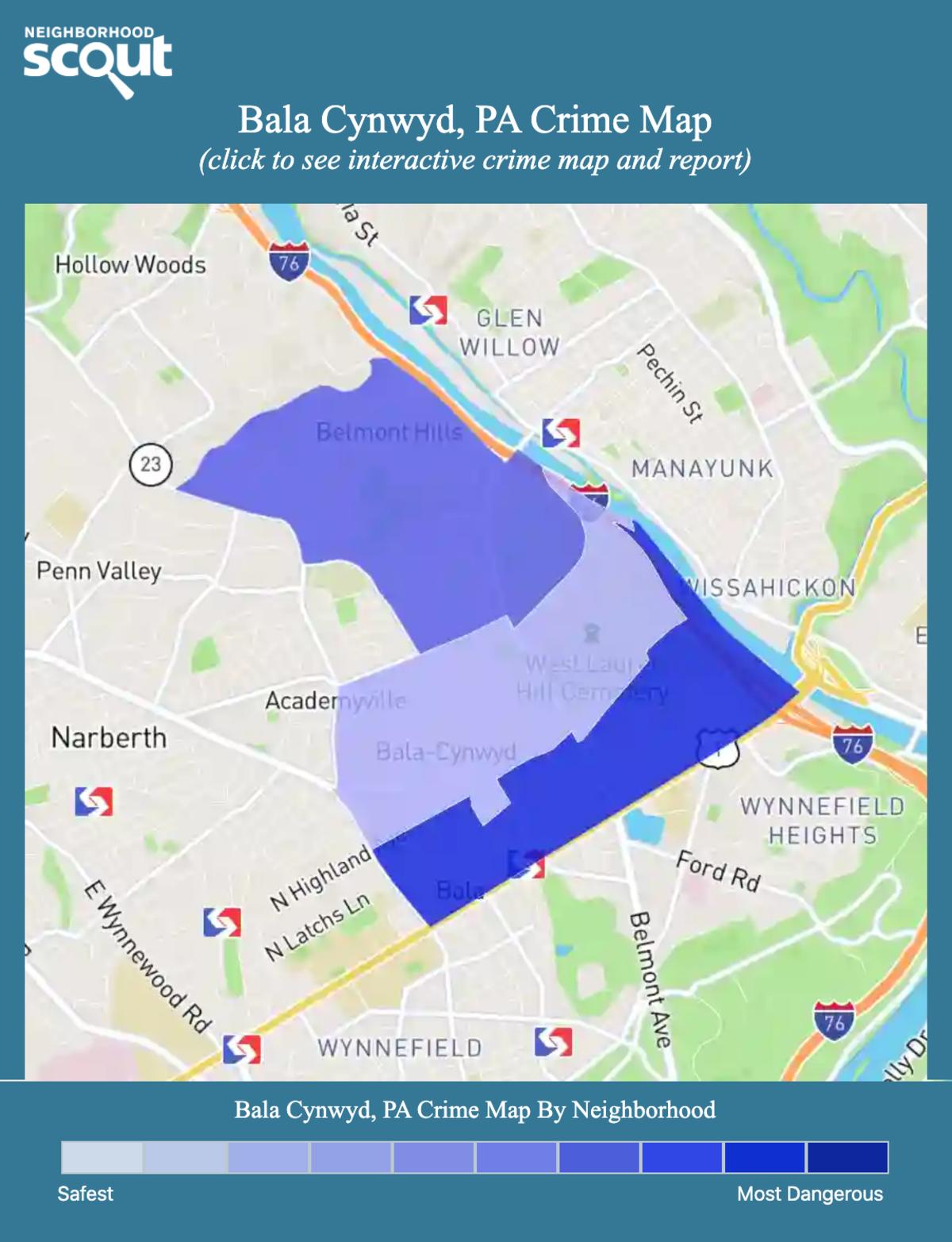 Bala Cynwyd, Pennsylvania crime map
