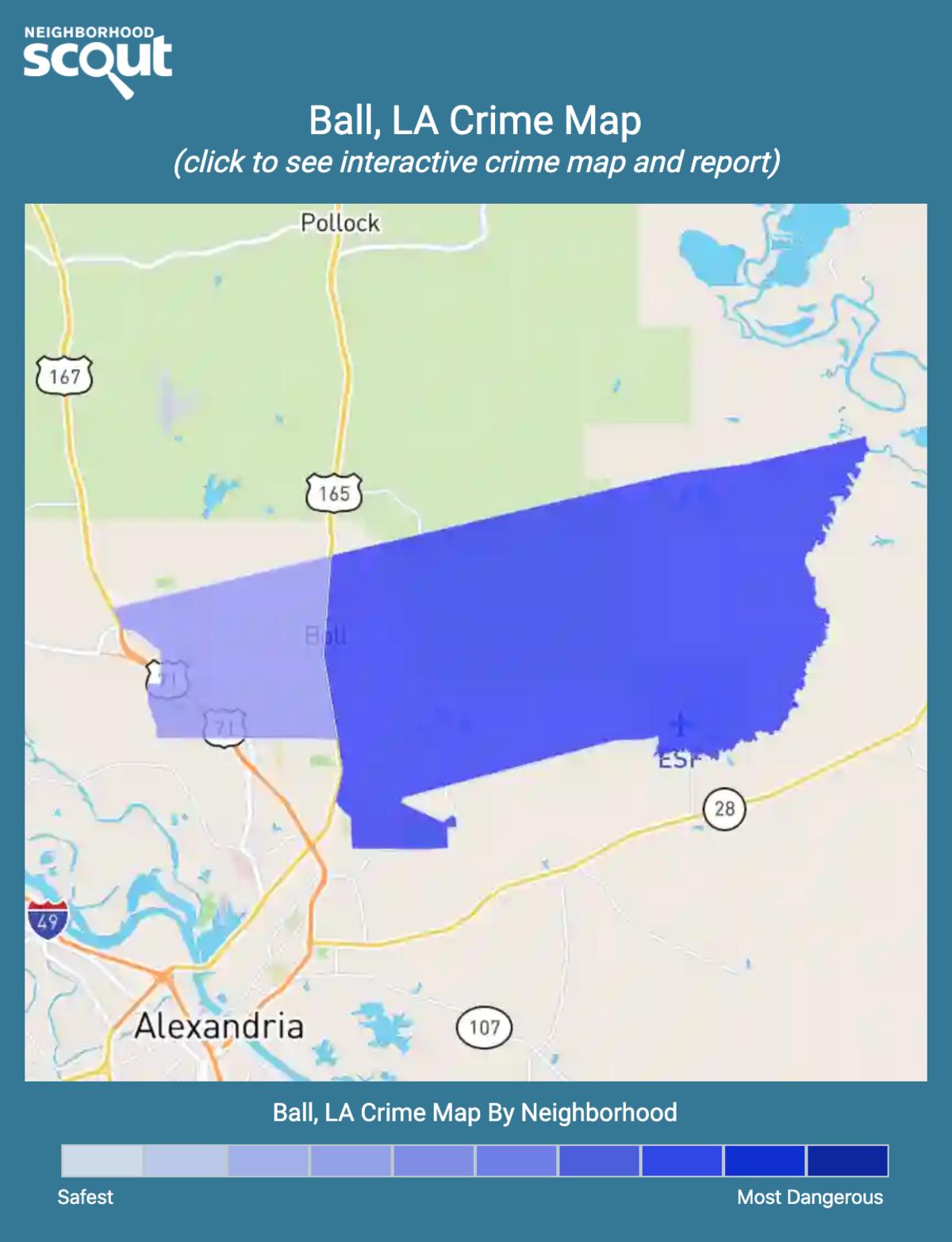 Ball, Louisiana crime map