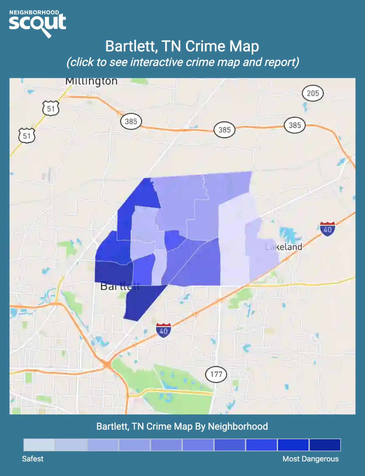 Bartlett, Tennessee crime map
