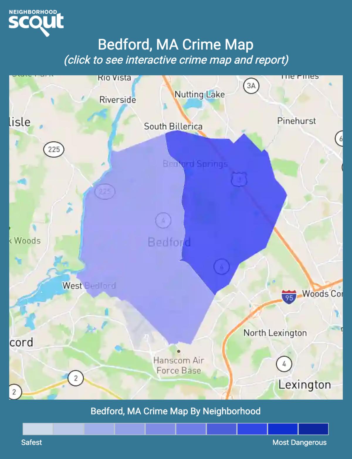 Bedford, Massachusetts crime map
