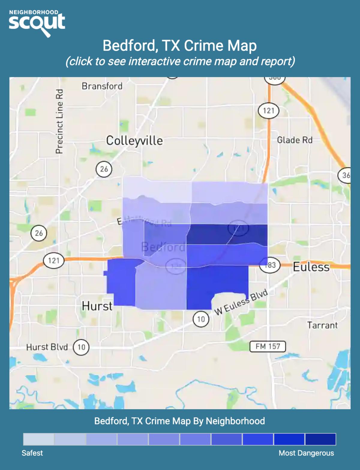 Bedford, Texas crime map