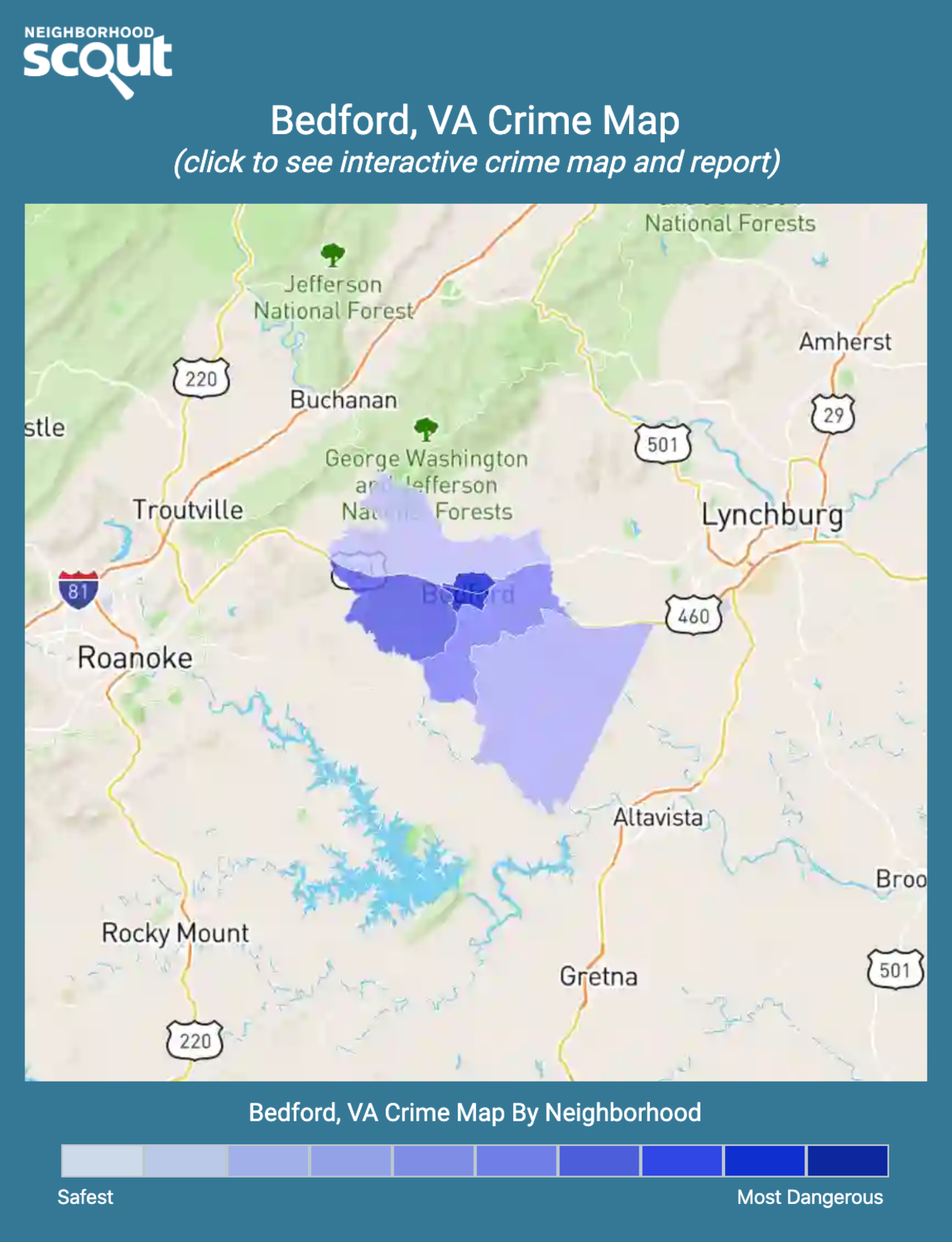 Bedford, Virginia crime map