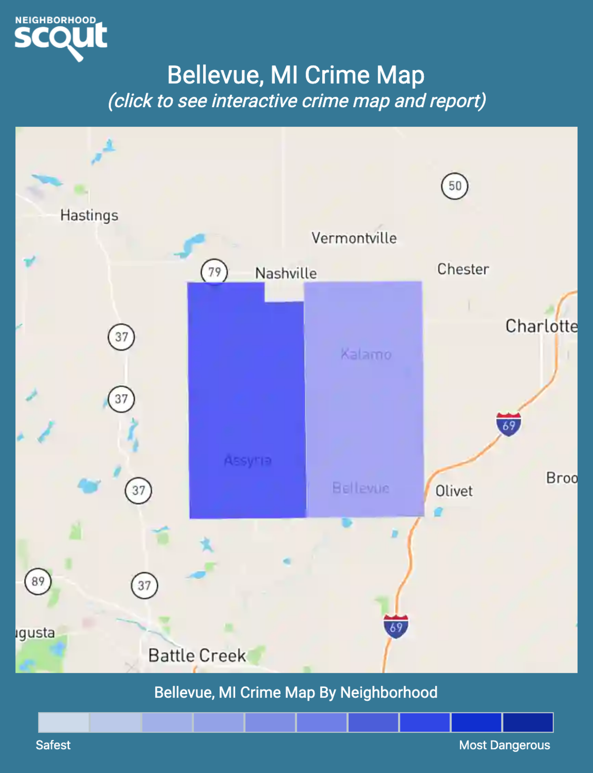 Bellevue, Michigan crime map