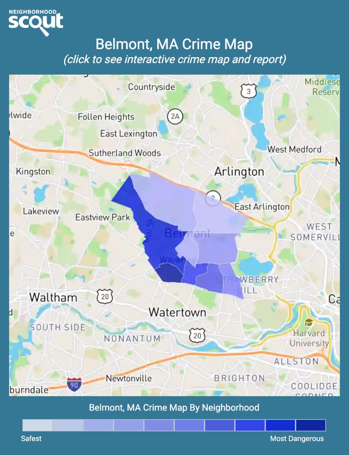 Belmont, Massachusetts crime map