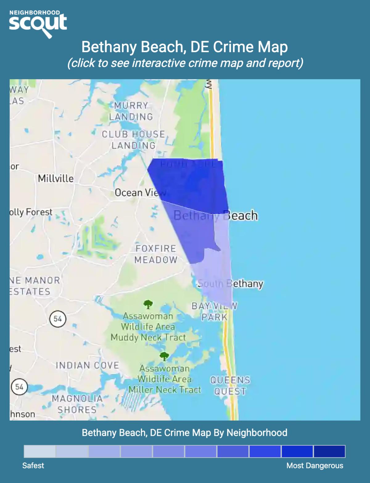 Bethany Beach, Delaware crime map