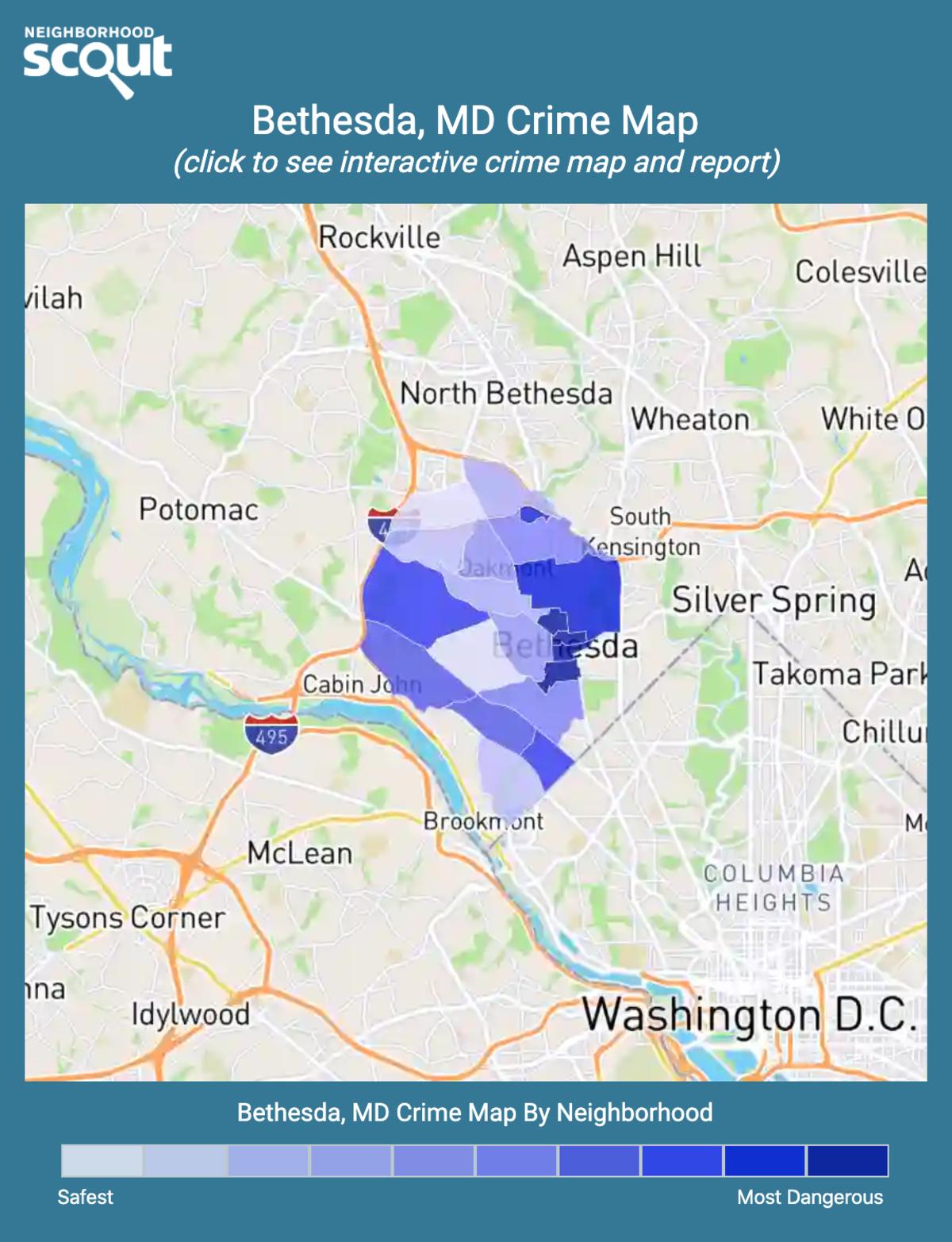 Bethesda, Maryland crime map