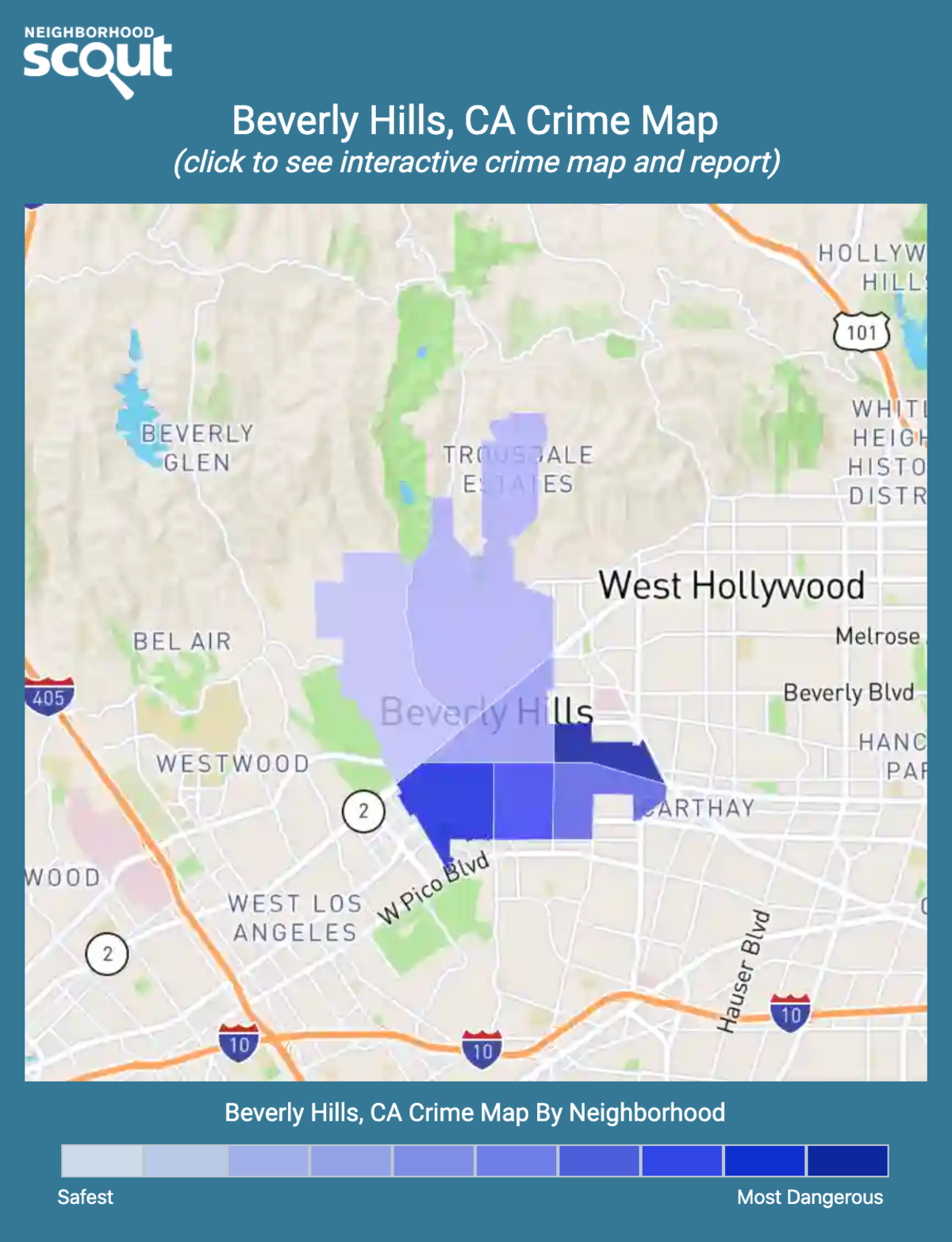 Beverly Hills, California crime map