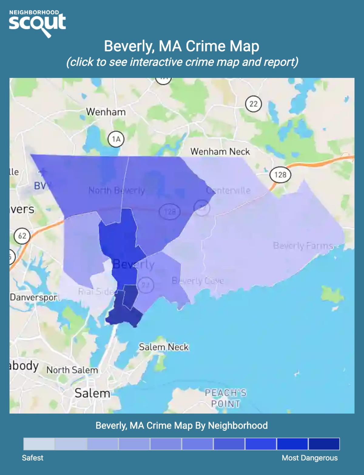 Beverly, Massachusetts crime map