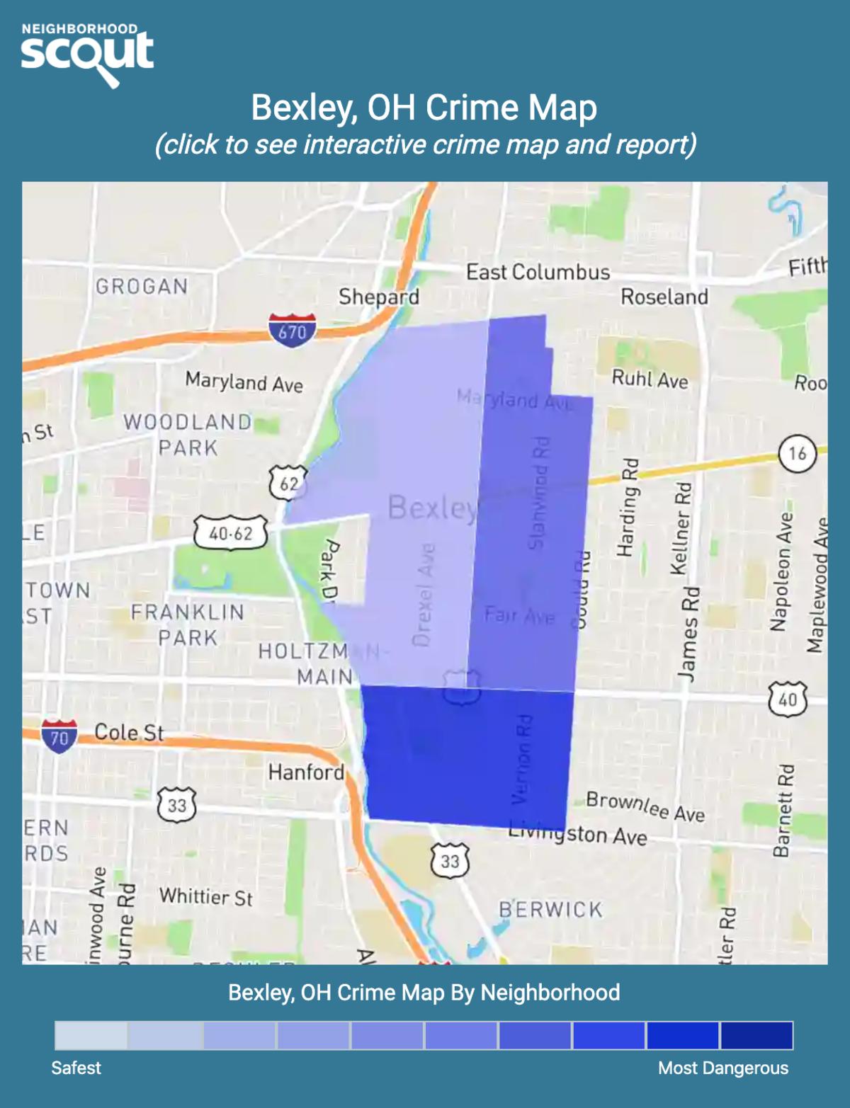 Bexley, Ohio crime map