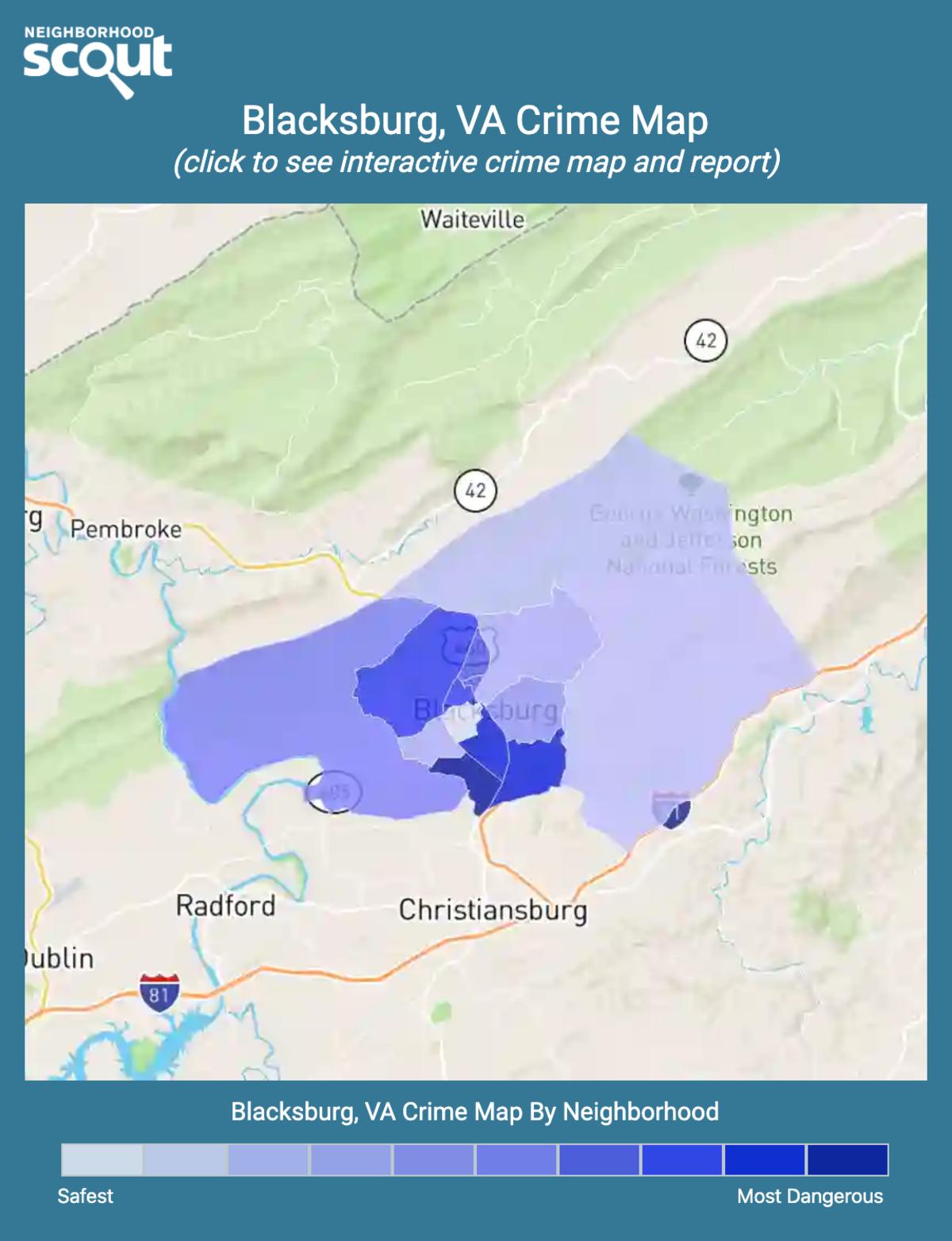 Blacksburg, Virginia crime map