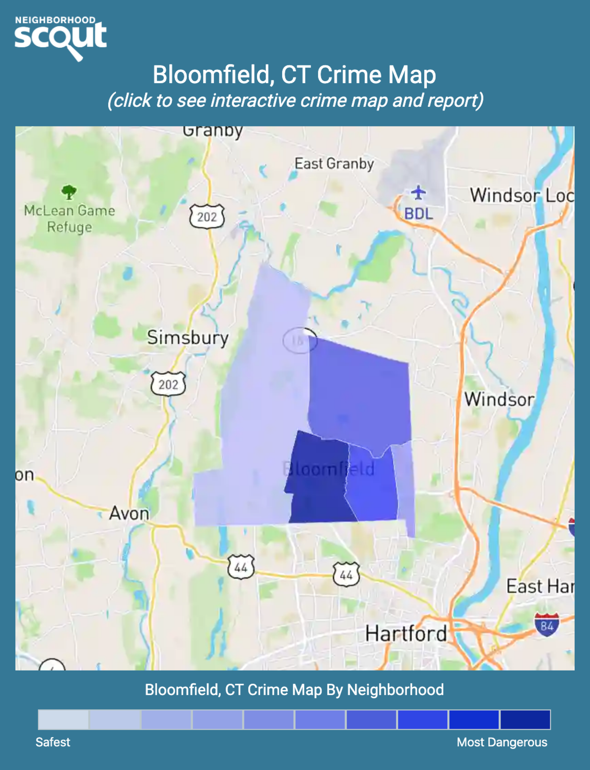 Bloomfield, Connecticut crime map