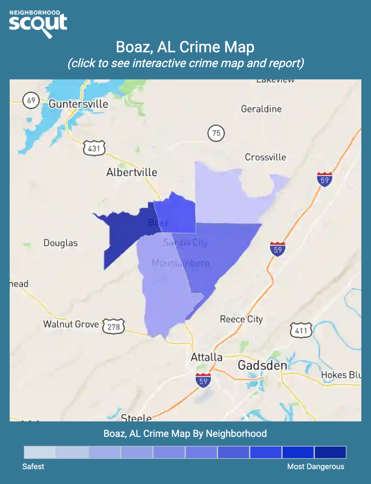Boaz, Alabama crime map