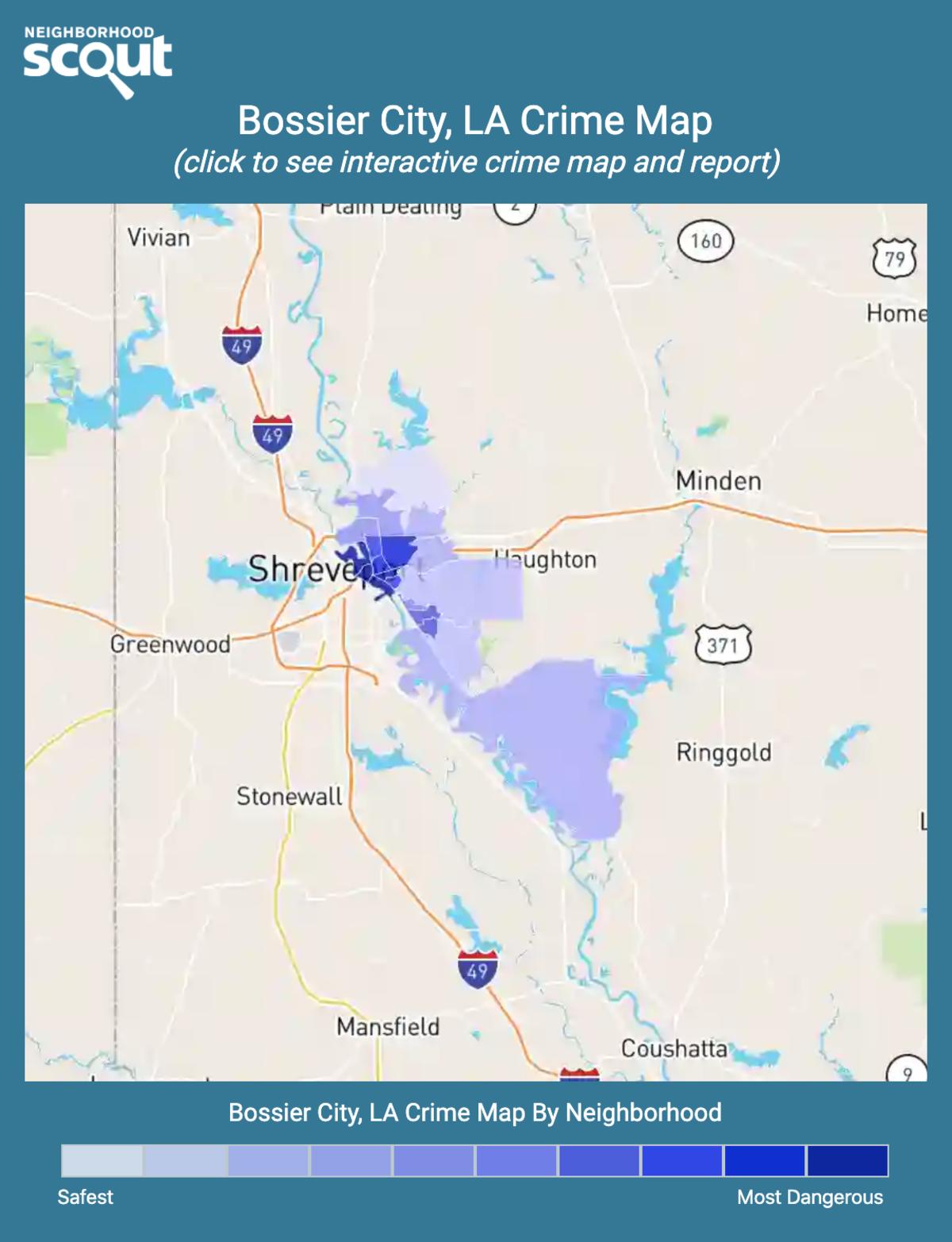 Bossier City, Louisiana crime map