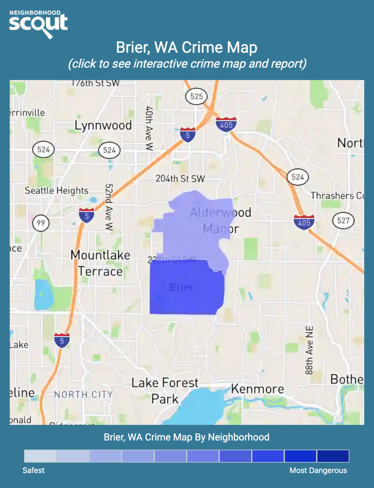 Brier, Washington crime map