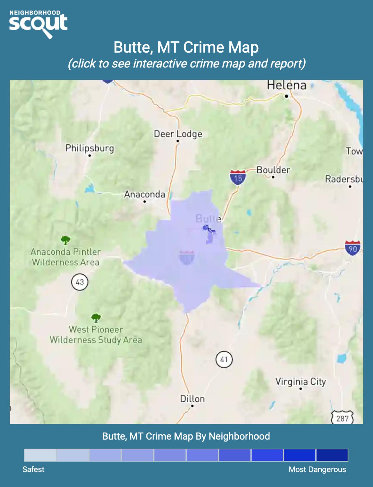 Butte, Montana crime map