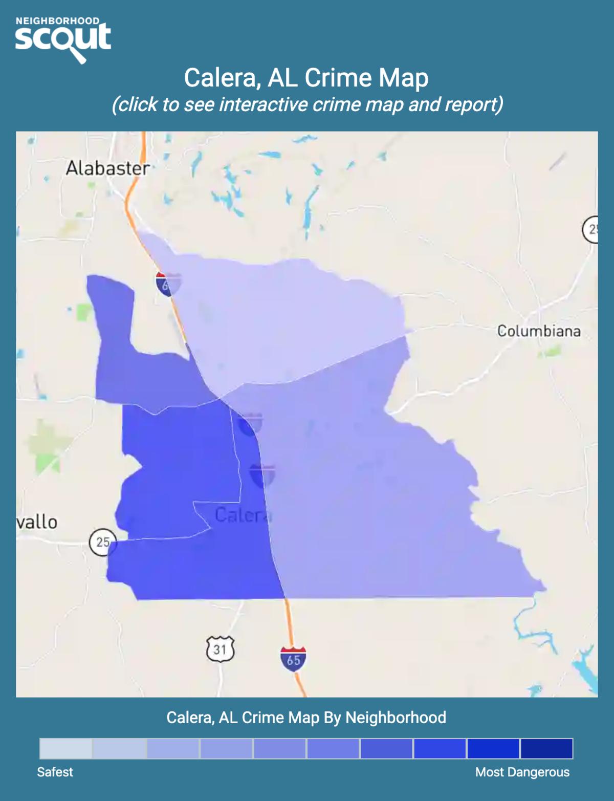 Calera, Alabama crime map