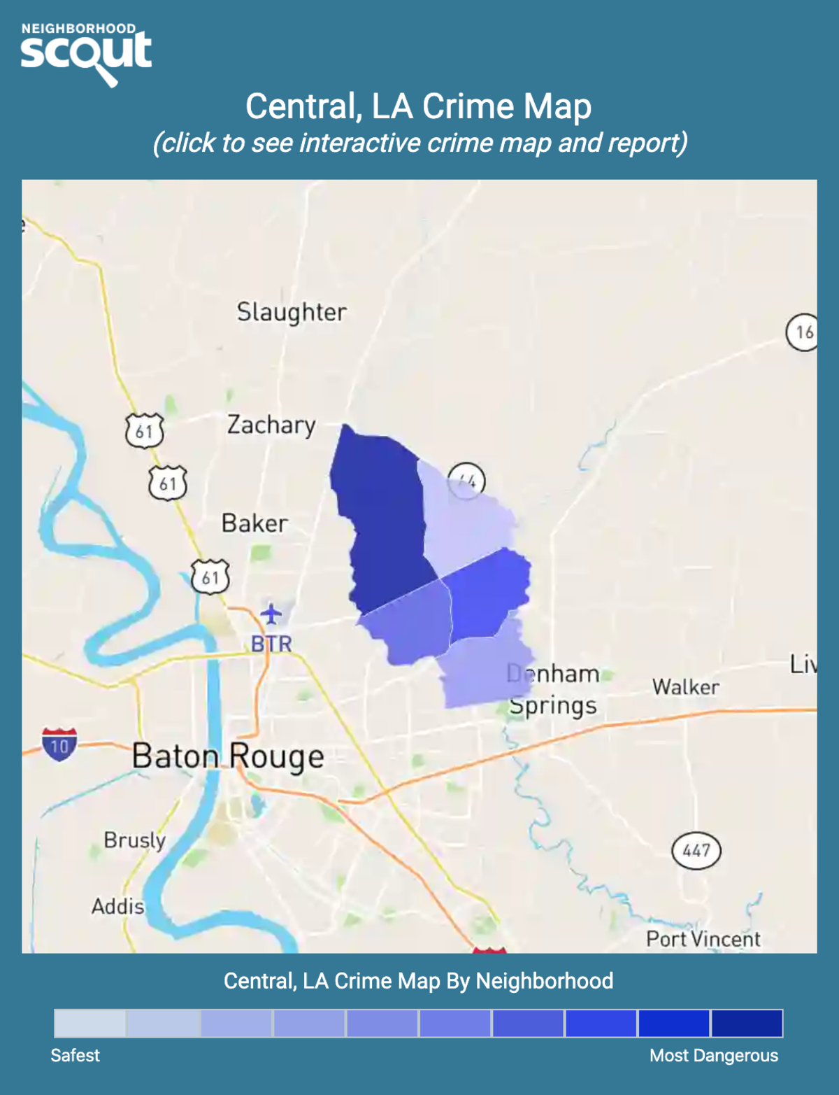 Central, Louisiana crime map