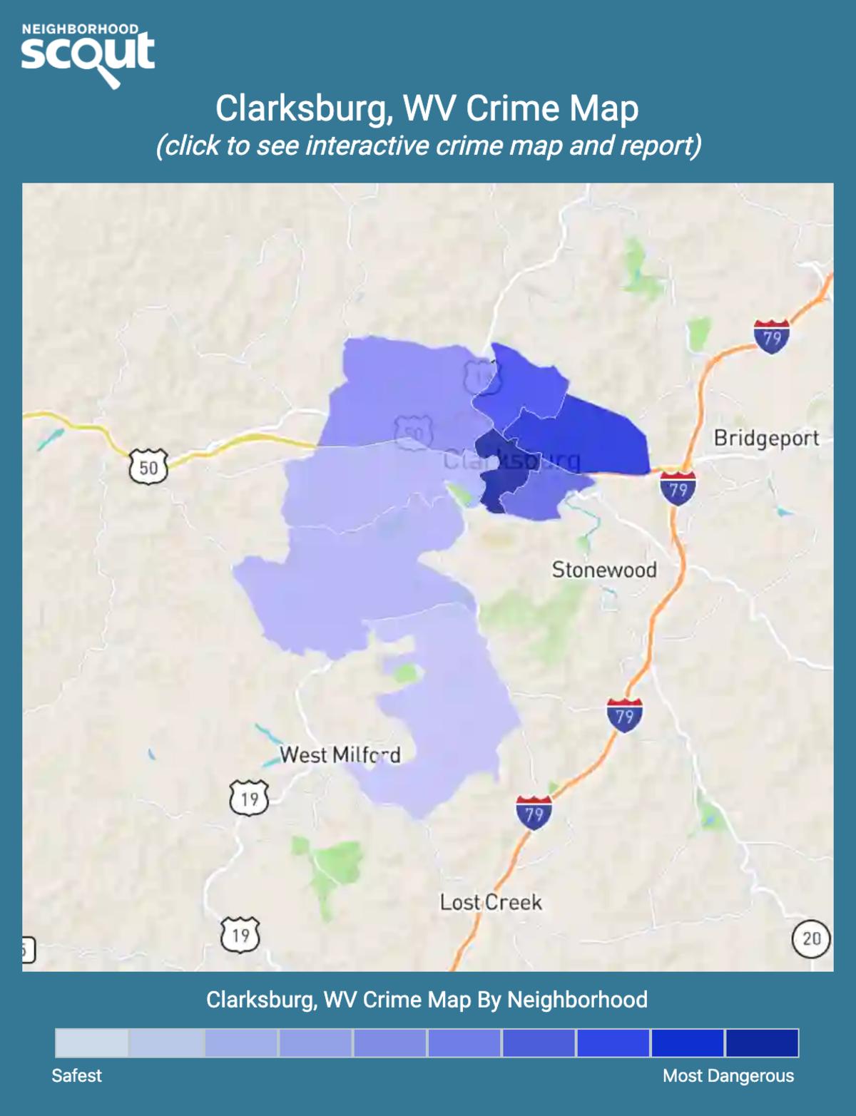 Clarksburg, West Virginia crime map