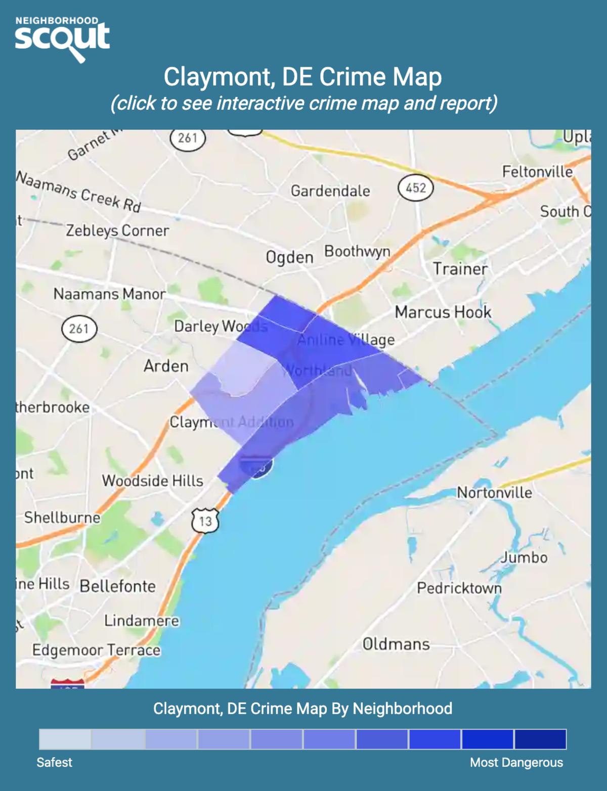 Claymont, Delaware crime map
