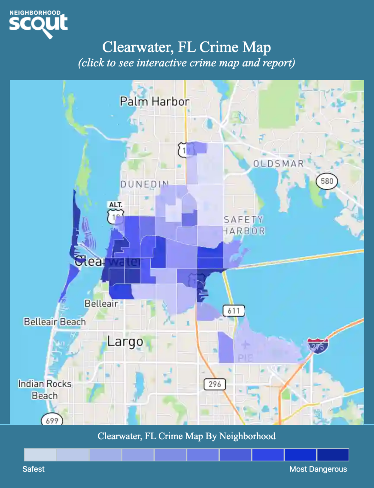 Clearwater, Florida crime map