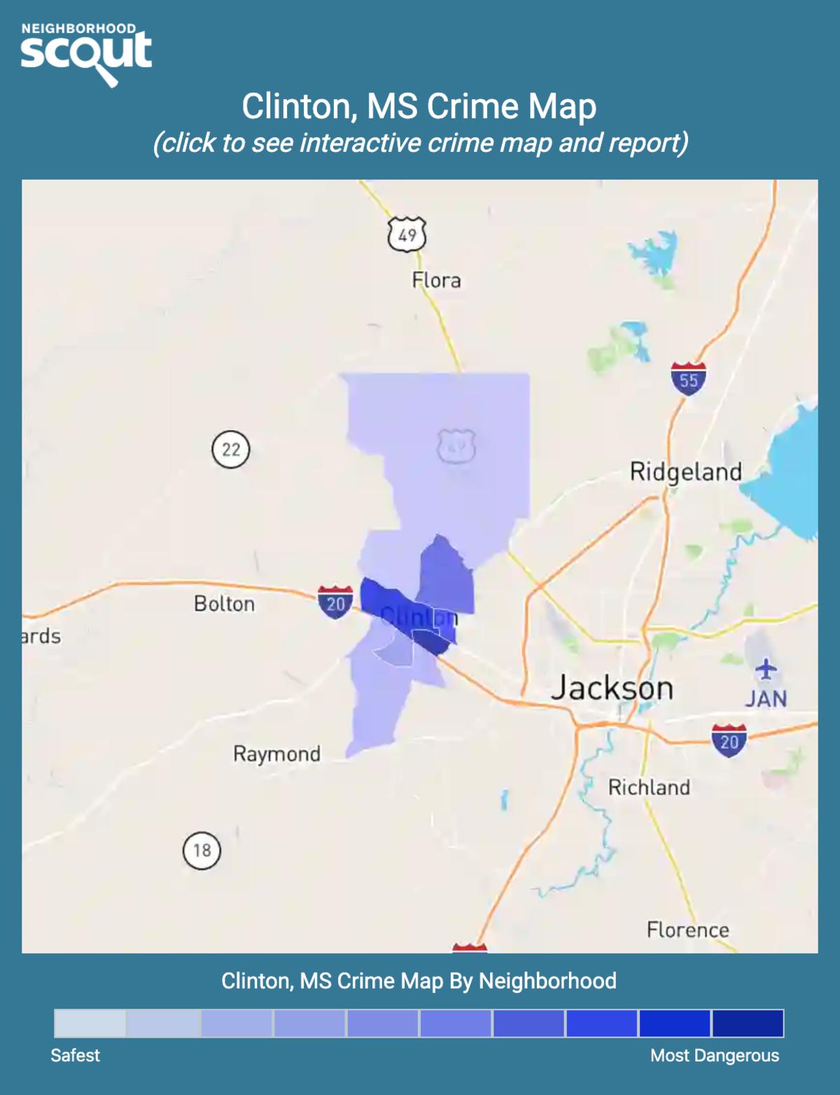 Clinton, Mississippi crime map