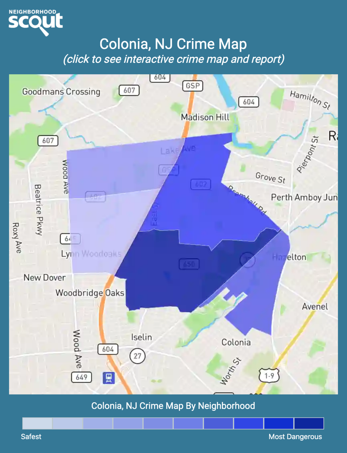 Colonia, New Jersey crime map