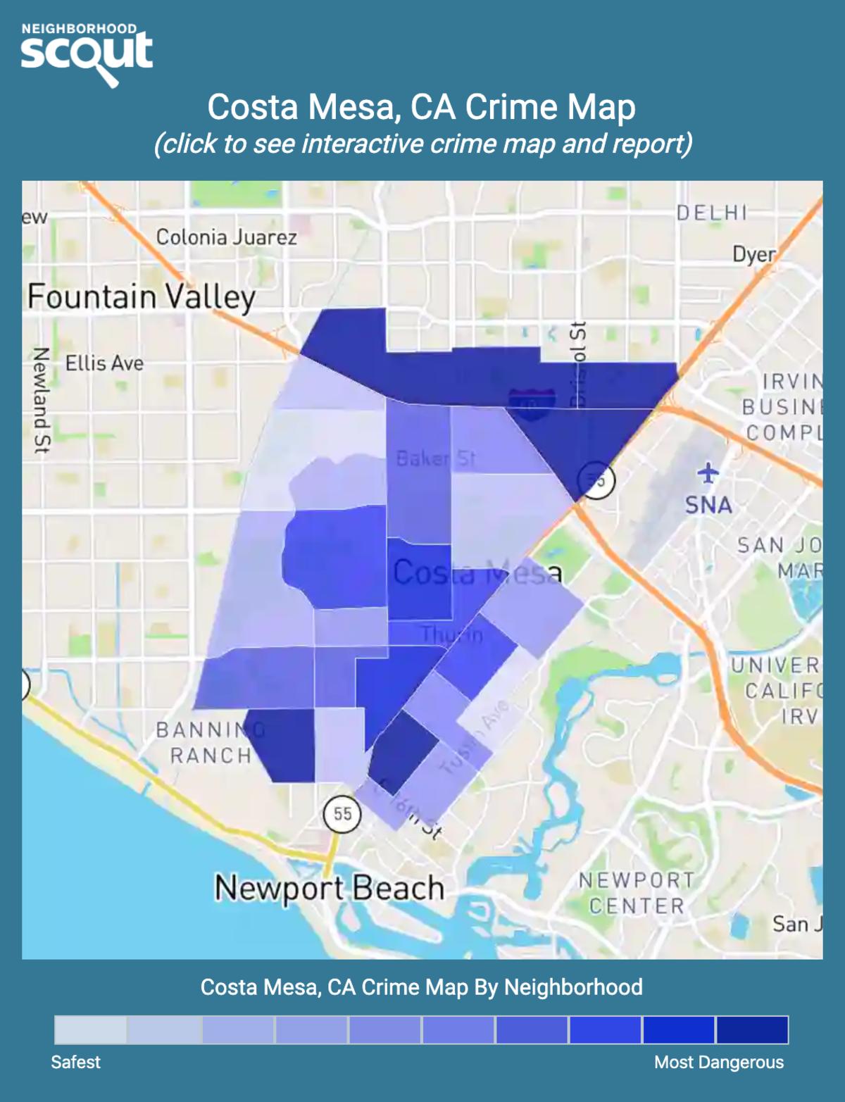 Costa Mesa, California crime map