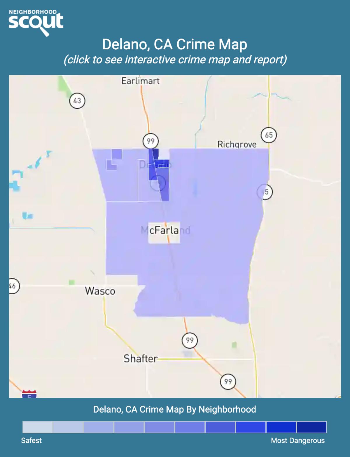 Delano, California crime map