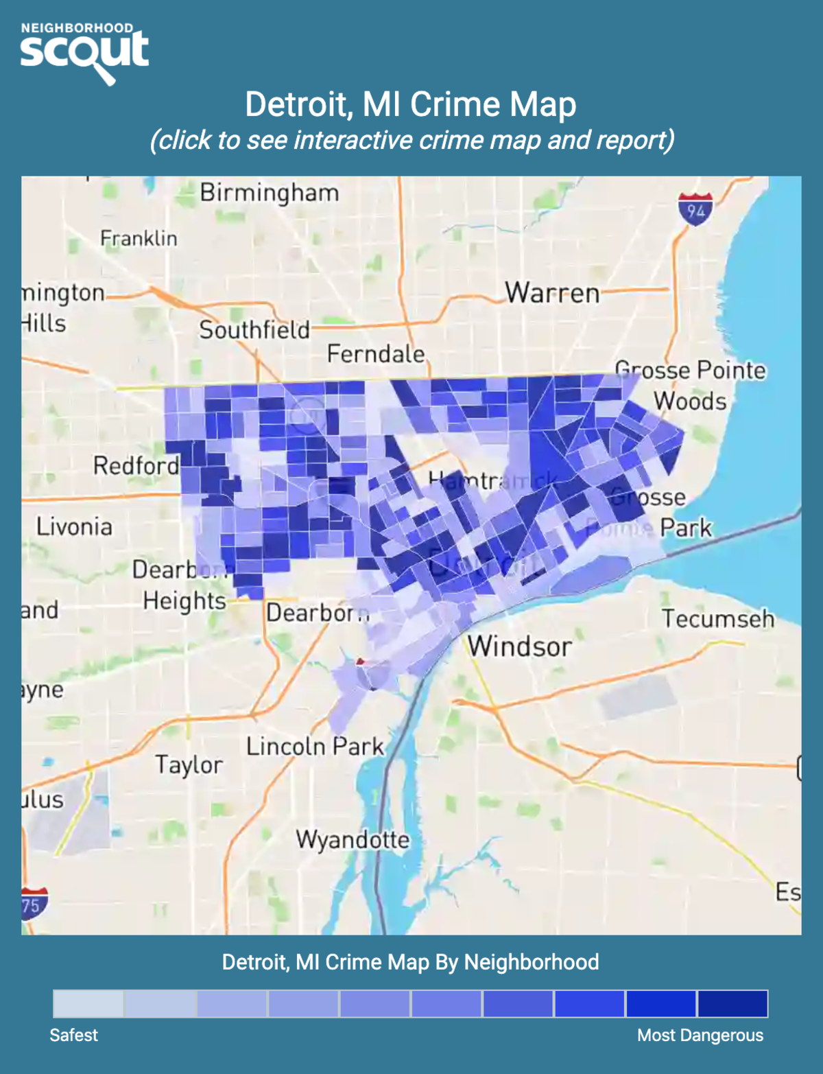 Detroit, Michigan crime map