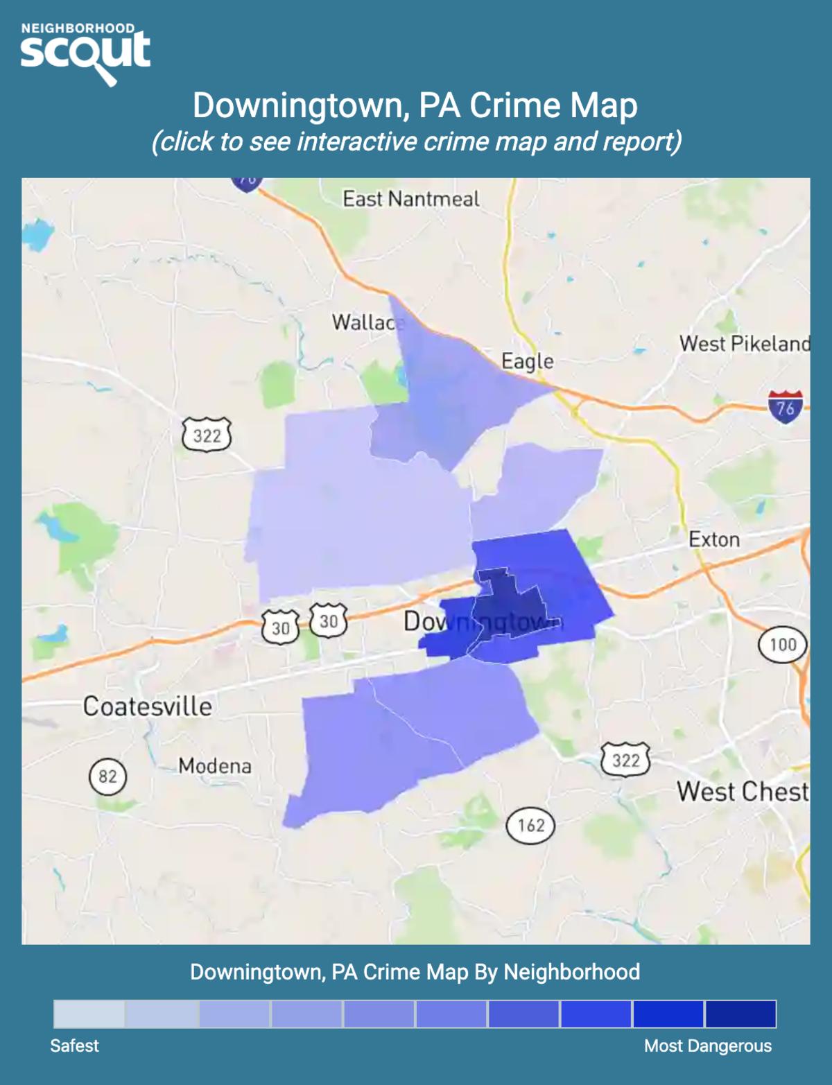 Downingtown, Pennsylvania crime map