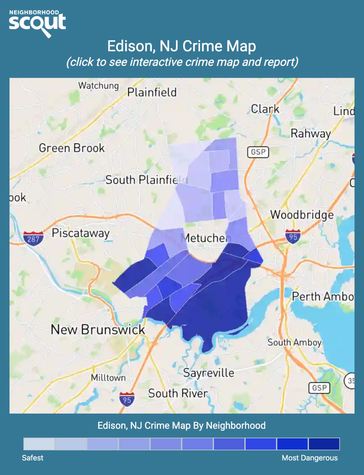Edison, New Jersey crime map
