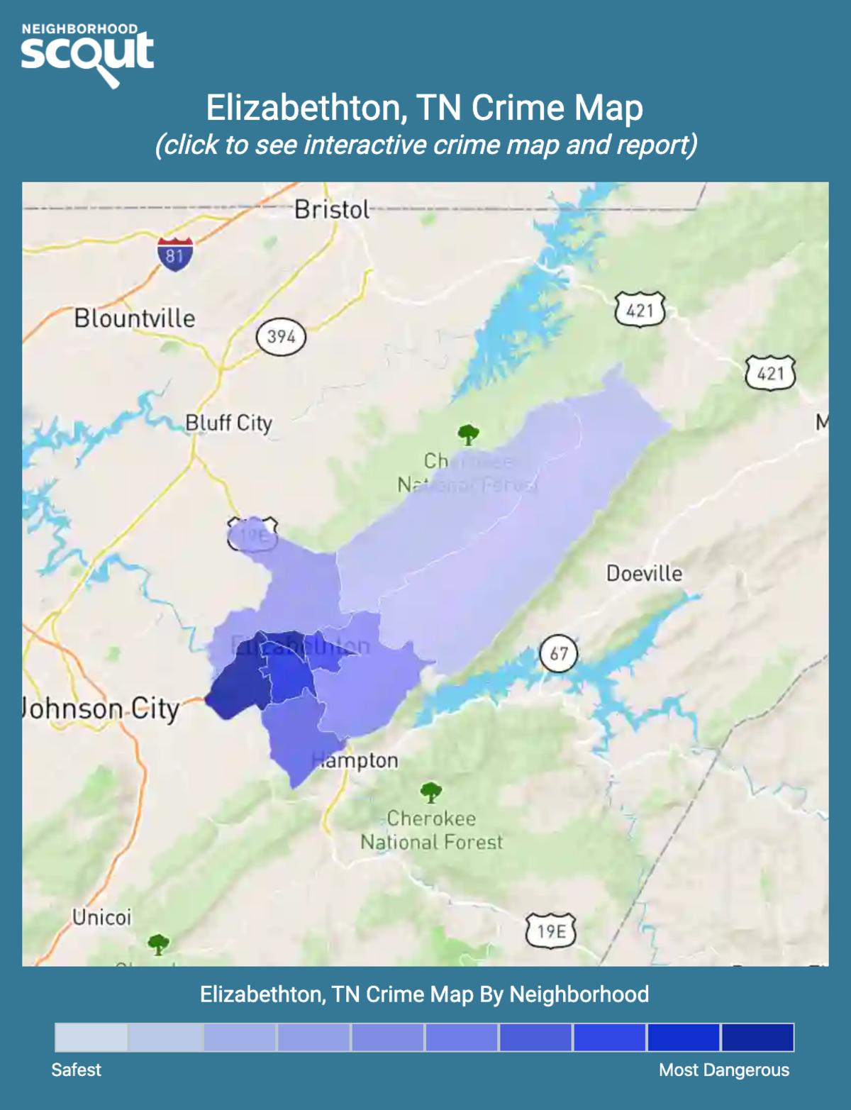 Elizabethton, Tennessee crime map