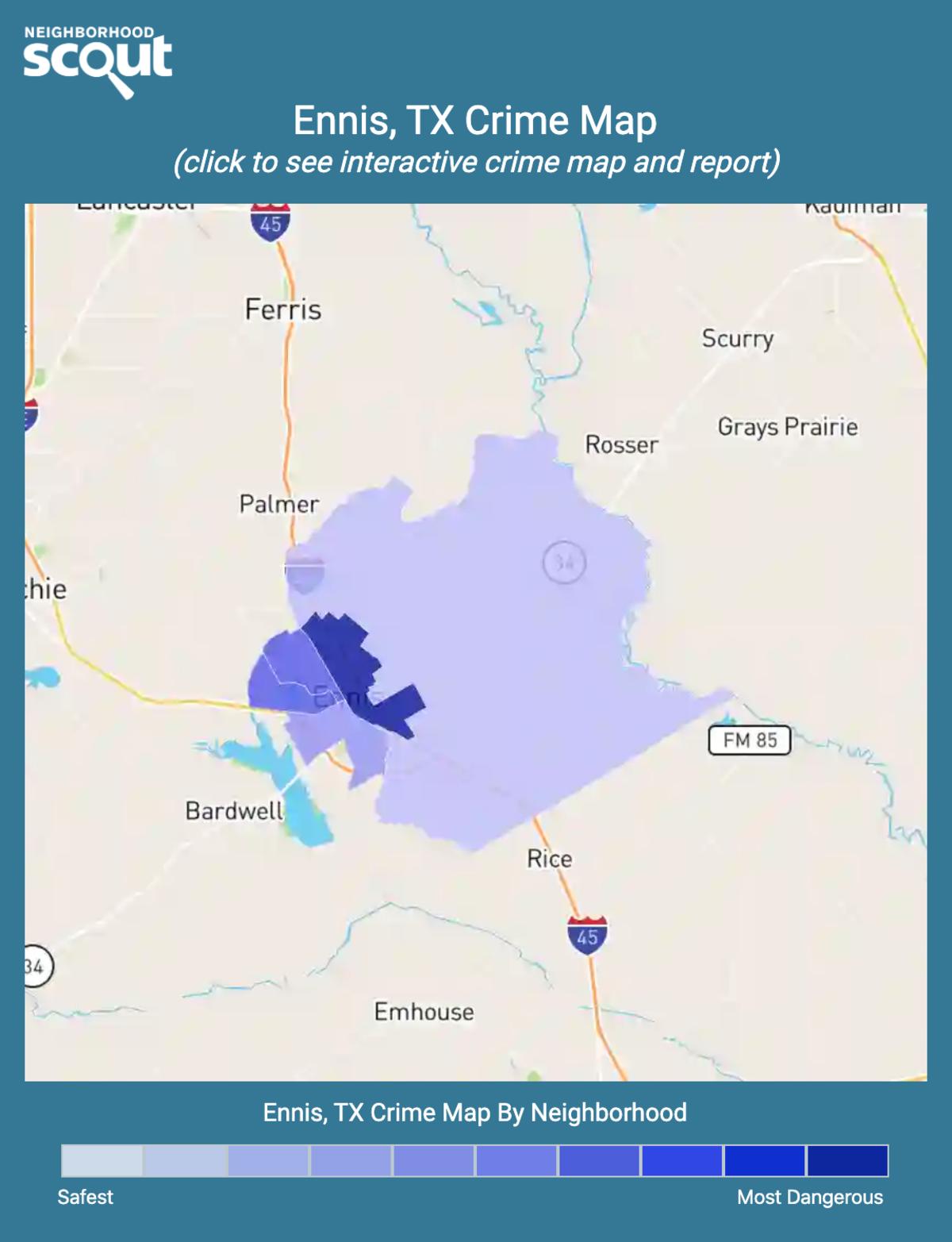 Ennis, Texas crime map